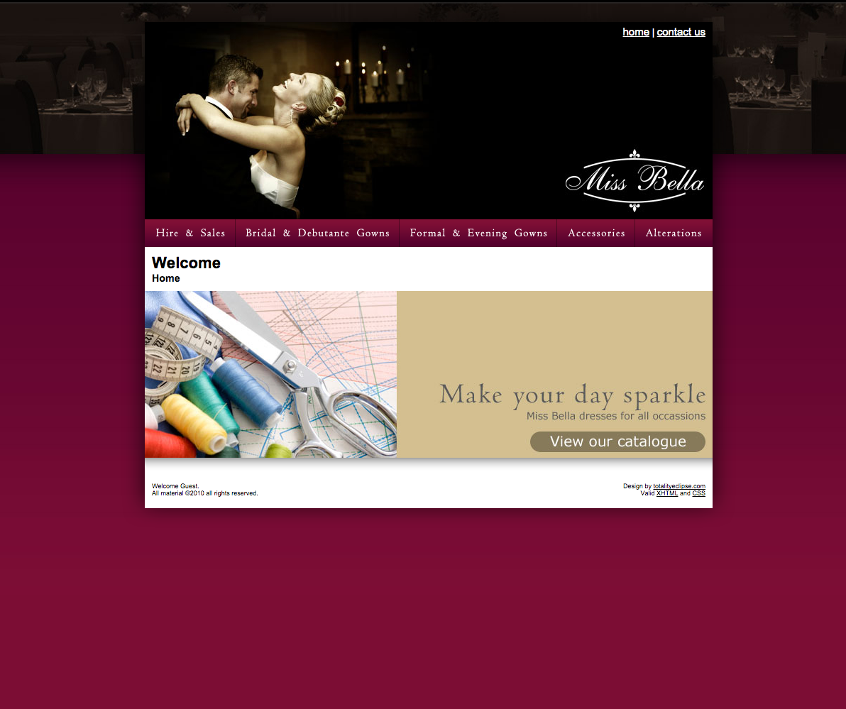 Website Design Miss Bella Bridal