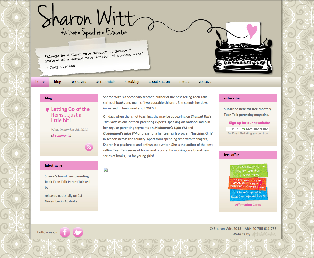 Website Design Sharon Witt Old Design